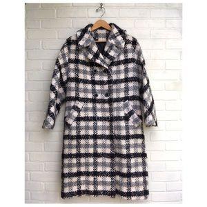 Vintage Wool Blend Plaid Coat